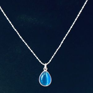 Jewelry - 🆕SILVER PLATED Blue Glass Necklace